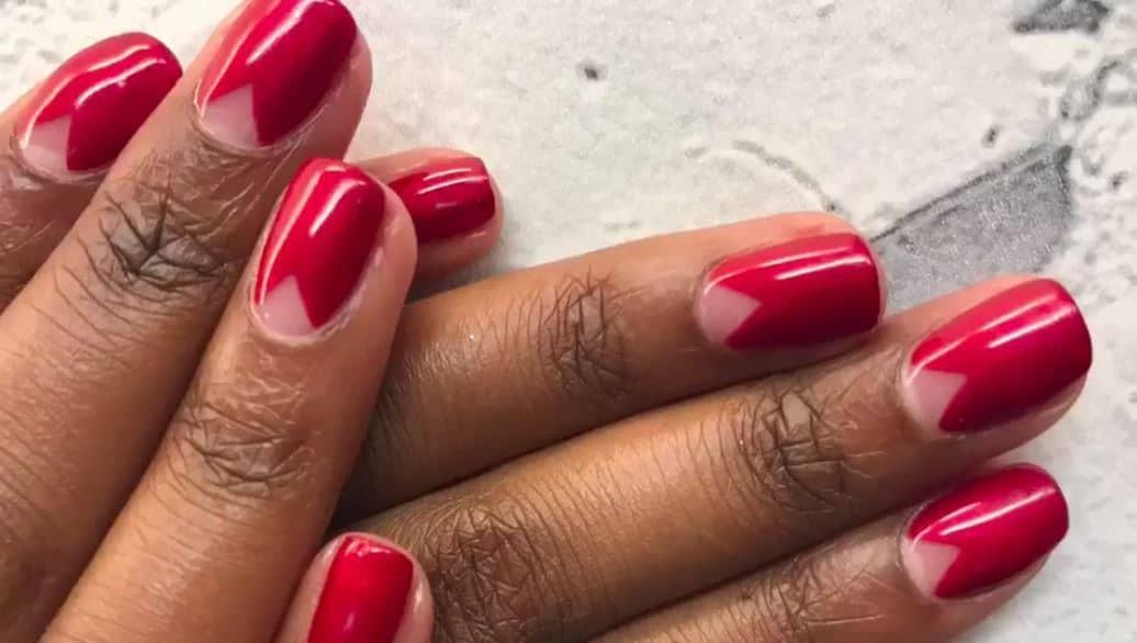 Simple negative space manicure